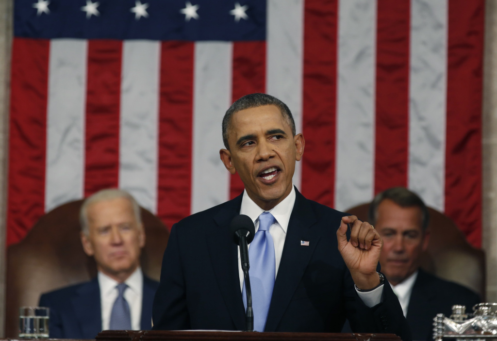 President Barack Obama delivers his State of the Union speech on Capitol Hill on Jan. 28, 2014 in Washington, DC.