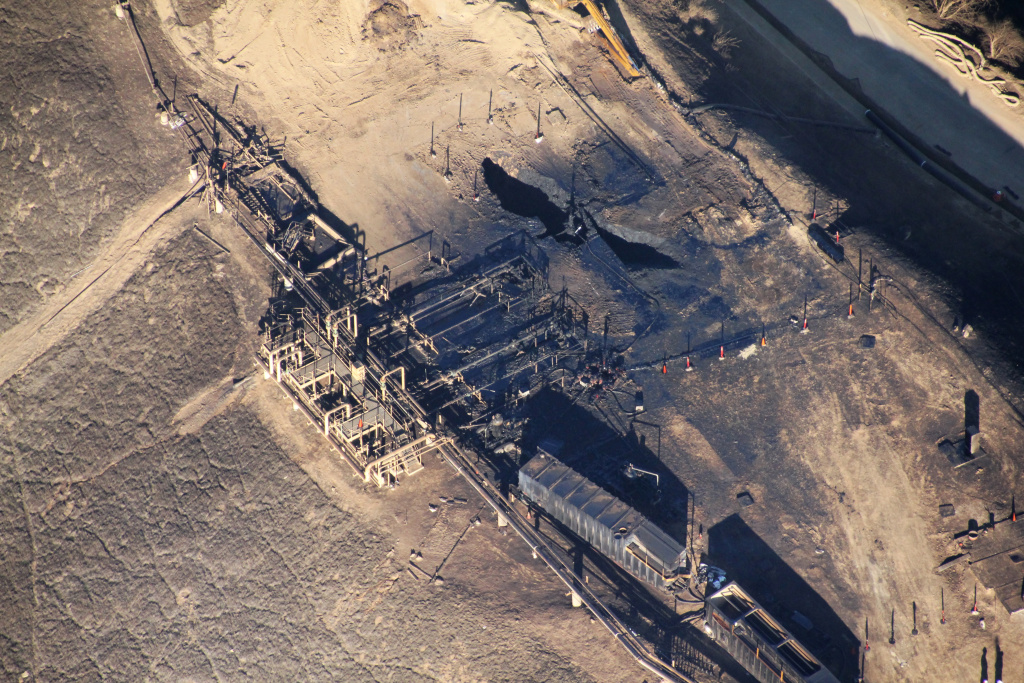 This overhead photo shows the leaking Aliso Canyon well pad near the Porter Ranch community on Dec. 17, 2015. SoCalGas has pleaded not guilty to misdemeanor criminal charges from the gas leak.
