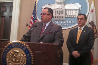 California state Assembly Speaker John Perez (D-Los Angeles) giving an update on the sate budget. ASM Budget Chair Bob Blumenfield is on the right.