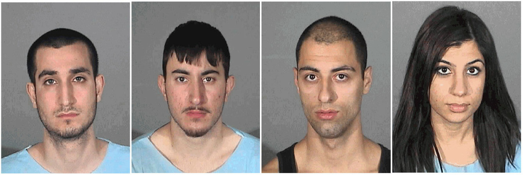Left to right: Alex Akob Akbari, 18, of Burbank; Gevork Bagdasaryan, 19, of Burbank; Araik Ovoian, 24, of Burbank; and 21-year-old Agavni Manukyan of Glendale were booked for attempted homicide and are being held on $1 million bail.