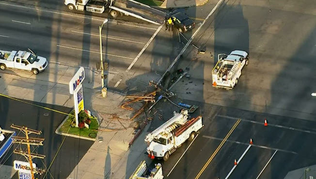 A crash knocked down a power line pole Friday, leaving about 1,700 in the San Fernando Valley without power.