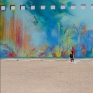 """Sofia Maldonado painted a mural, """"Promesa,"""" on an exterior wall at the Museum of Latin American Art in Long Beach."""