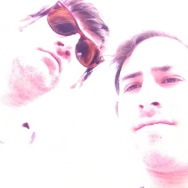 Off-Ramp host John Rabe (in sunglasses) and Off-Ramp fill-in producer Jerry Gorin, posing for their album cover.