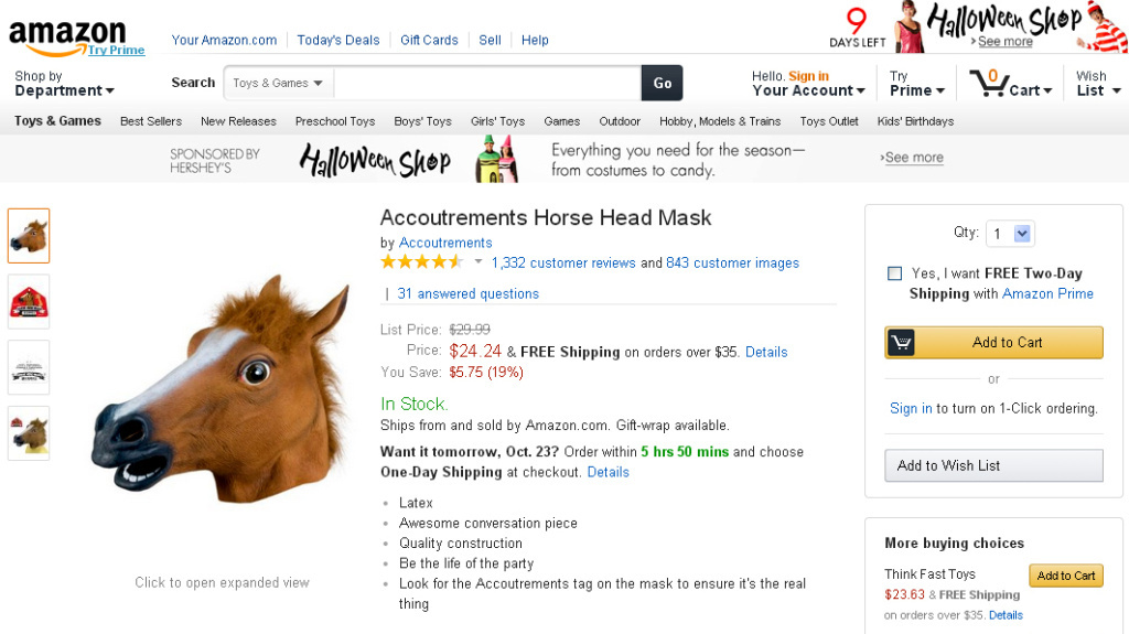 <strong>Missed it by that much:</strong> Amazon has raised its minimum price for free shipping to $35, meaning that horse masks — a popular item among reviewers — are subject to a shipping fee.