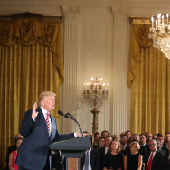 U.S. President Donald Trump announces the Air Traffic Control Initiative during an event in the East Room of the White House on June 5, 2017 in Washington, DC.