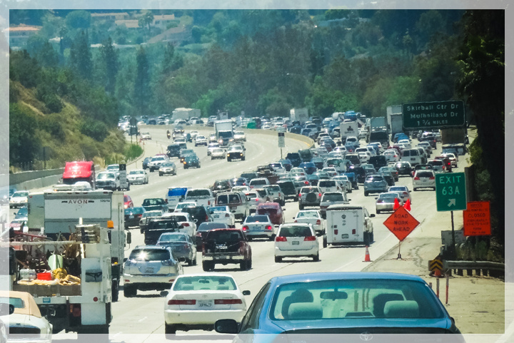 FILE: A section of the I-405 near the Mulholland Drive exit in the Sepulveda Pass, which was shut down for an entire weekend in 2012 during Carmageddon. A series of overnight lane closures near LAX is scheduled starting Monday.