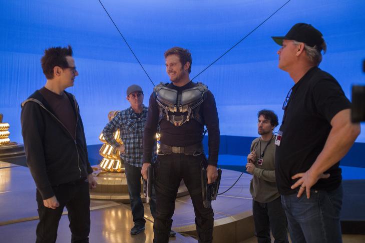 Chris Pratt (left) and director James Gunn on the set of Marvel's