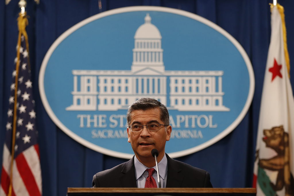 California Attorney General Xavier Becerra speaks during a press conference at the California State Capitol on March 7, 2018 in Sacramento, California.