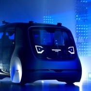 A Volkswagen AG (VW) 'Cedric' self-driving automobile is presented during the Volkswagen Group Shaping The Future / Create Innovation event ahead of the 87th Geneva International Motor Show on March 6, 2017 in Geneva, Switzerland.