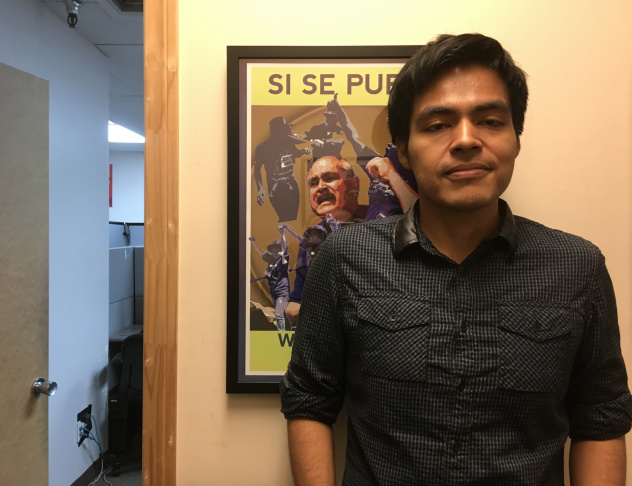 Mario Hernandez, 29, manages a call center at the Coalition for Humane Immigrant Rights of Los Angeles. He renewed his DACA protection this week. His permit was due to expire this summer.