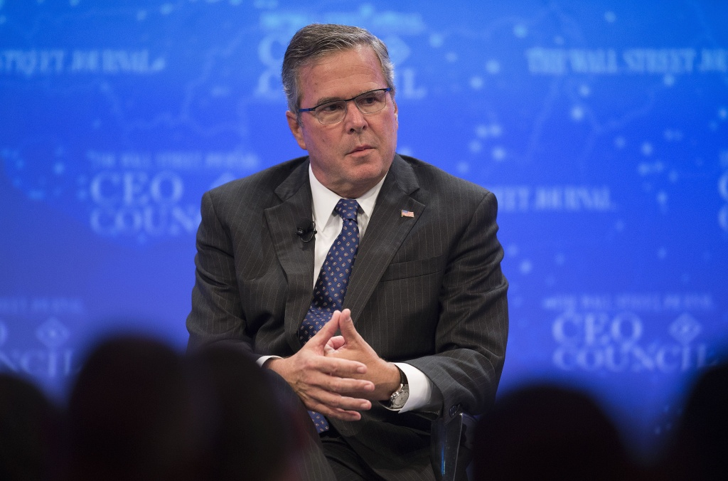 Former Florida Governor Jeb Bush speaks during the Wall Street Journal CEO Council in Washington, DC, December 1, 2014.