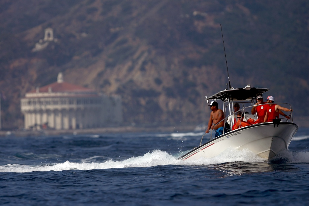 File: Spectators riding in chase boats watch their respective teams compete during the Catalina Crossing on Sept. 3, 2008 just outside Avalon Harbor in Catalina Island, California.