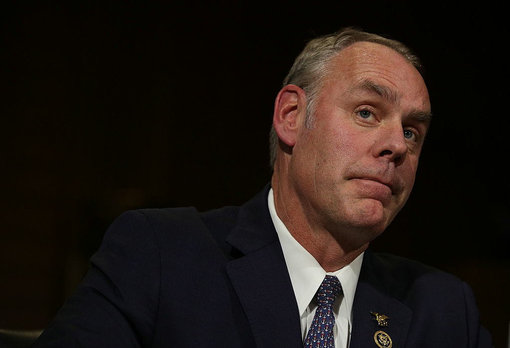 WASHINGTON, DC - JANUARY 17:  U.S. Secretary of Interior nominee, Rep. Ryan Zinke (R-MT), testifies during his confirmation hearing before Senate Energy and Natural Resources Committee January 17, 2017 on Capitol Hill in Washington, DC. The former Navy SEAL commander is expected to face questions on whether federal government can transfer land to states or private ownership.  (Photo by Alex Wong/Getty Images)