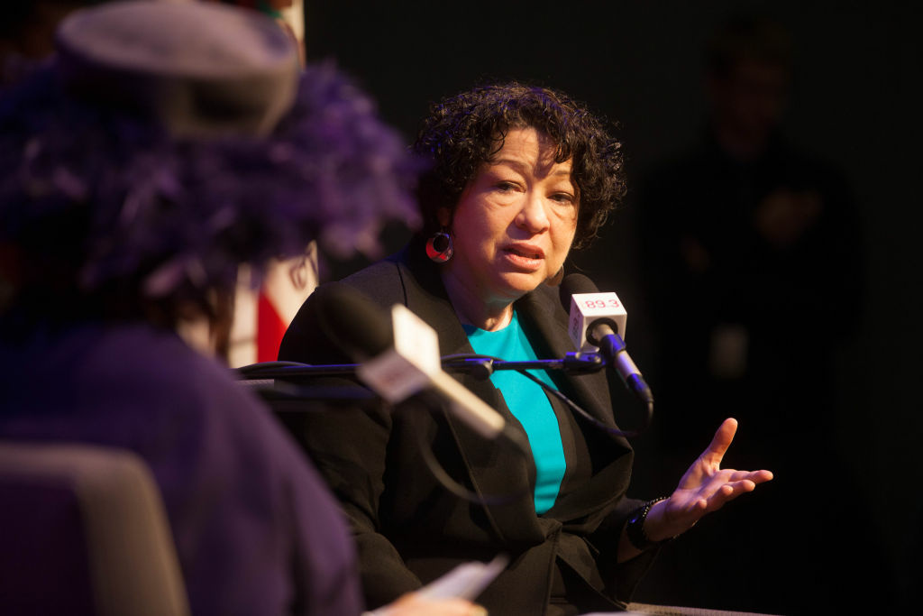 Supreme Court Justice Sonia Sotomayor speaks with KPCC's Patt Morrison at the Crawford Family Forum on January 25, 2013. Sotomayor made a last-minute decision to block implementation of the contraceptive coverage requirement of President Obama's health care law.