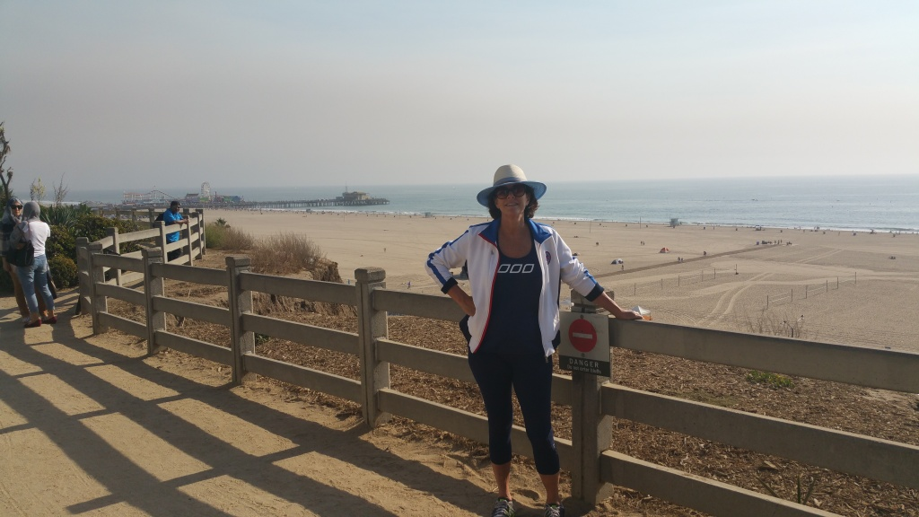 KPCC listener Polly Morris on a hike along the SoCal shoreline.