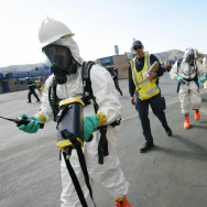 A Hazardous Materials (HazMat) team use