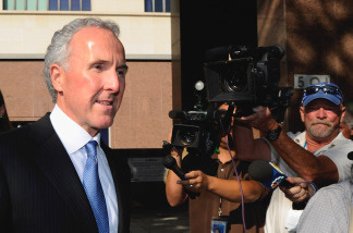 Frank McCourt leaves Los Angeles County Superior Court after day one of a non-jury divorce trial on August 30, 2010 in Los Angeles, California. The trial, being presided over by Judge Scott M. Gordon in California Superior Court, is to decide whether Frank McCourt is the sole owner of the Los Angeles Dodgers baseball team or his estranged wife and former Dodger CEO Jamie McCourt still has ownership stake in the team.