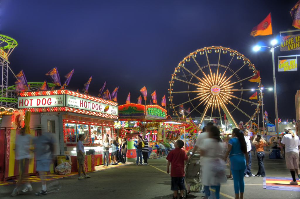 Families attend the Los Angeles County Fair.