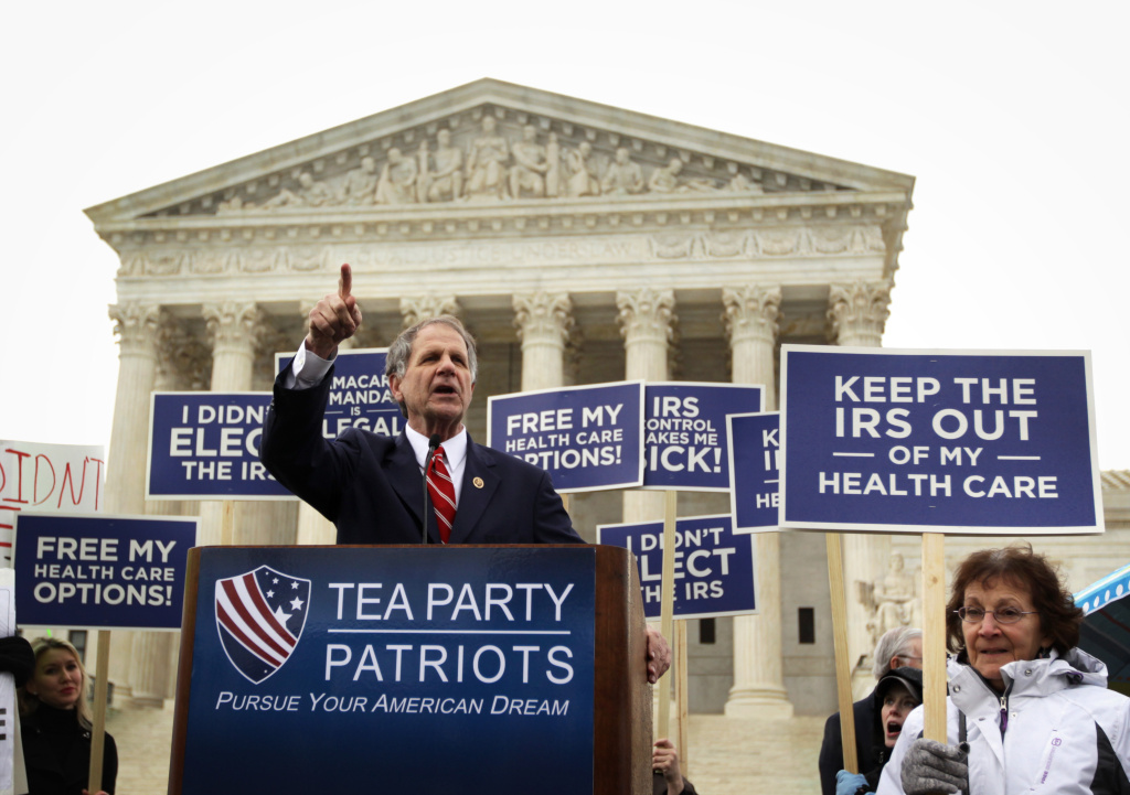 U.S. Rep. Ted Poe (R-TX) speaks during a Tea Party Patriots rally against the Affordable Care Act in front of the U.S Supreme Court during a rally March 4, 2015 in Washington, DC. The Supreme Court was scheduled to hear oral arguments in the case of King v. Burwell that could determine the fate of health care subsidies for as many as eight million people.