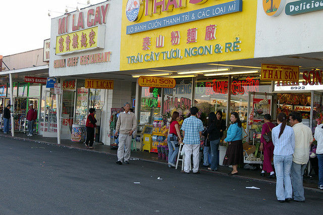 Businesses in Westminster, Calif., in a part of Orange County known as Little Saigon. According to a new report, 40 percent of the nearly 1.3 million Vietnamese immigrants in the United States live in California, concentrated in Orange, Los Angeles and Santa Clara counties.