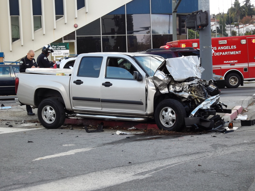 FILE: A car crash on Crenshaw Boulevard in Los Angeles.