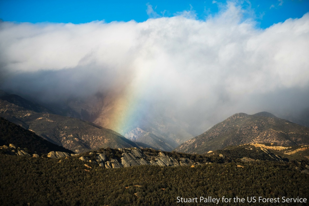 A rainbow over the scene of the mostly extinguished Thomas Fire in December 2017.
