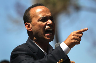 U.S. Rep. Luis Gutierrez (D-IL), speaks in favor of national immigration reform at a rally on April 25, 2010 in Phoenix, Arizona.