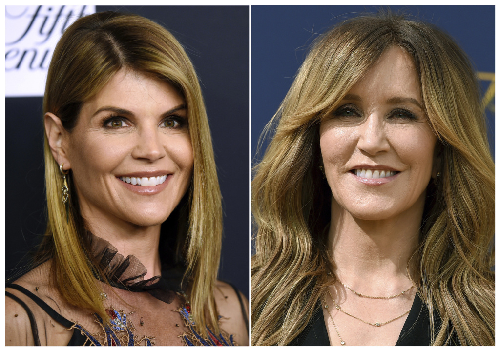 Actresses Lori Loughlin (left) and Felicity Huffman are expected to appear in federal court in Boston on Wednesday along with a group of 11 other parents. A total of 50 people have been charged in connection with the alleged years-long scam.