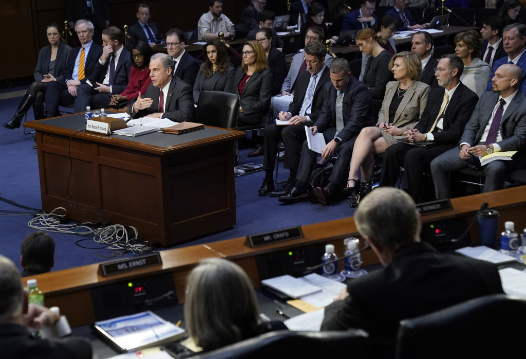 Michael Horowitz, inspector general for the Justice Department, testifies before the Senate Judiciary Committee in the Hart Senate Office Building on December 11, 2019 in Washington, DC.