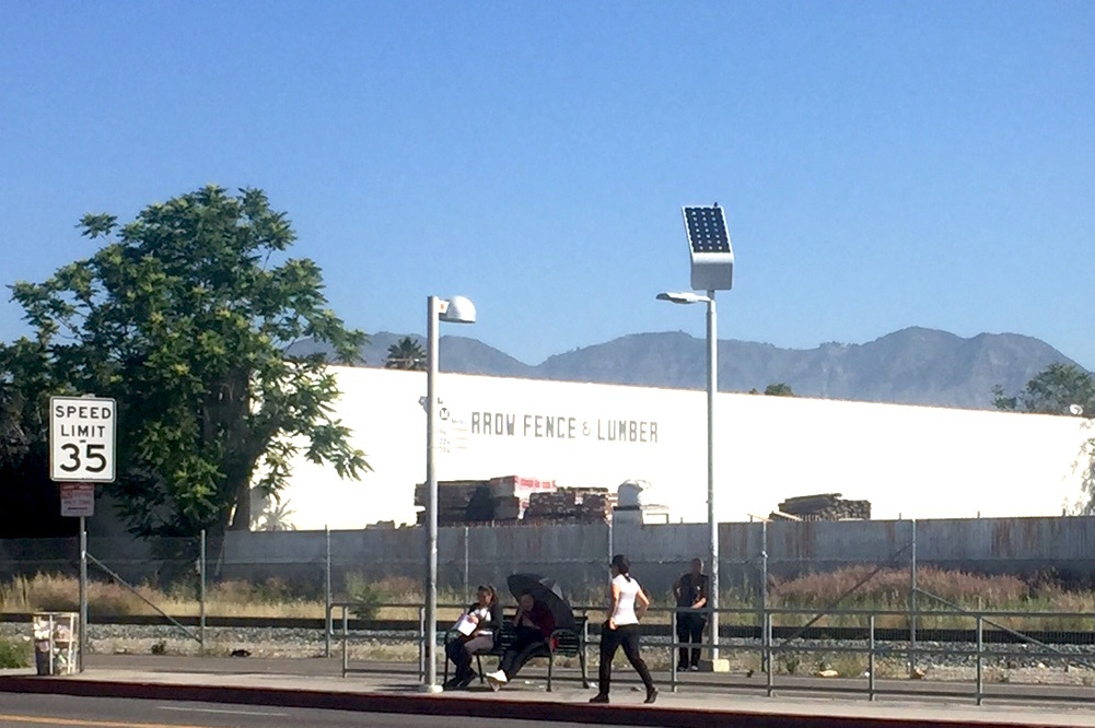 A bus stop on San Fernando Road in Pacoima, Los Angeles.