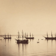 The French Fleet, Cherbourg (detail), 1858, Gustave Le Gray, Albumen silver print.