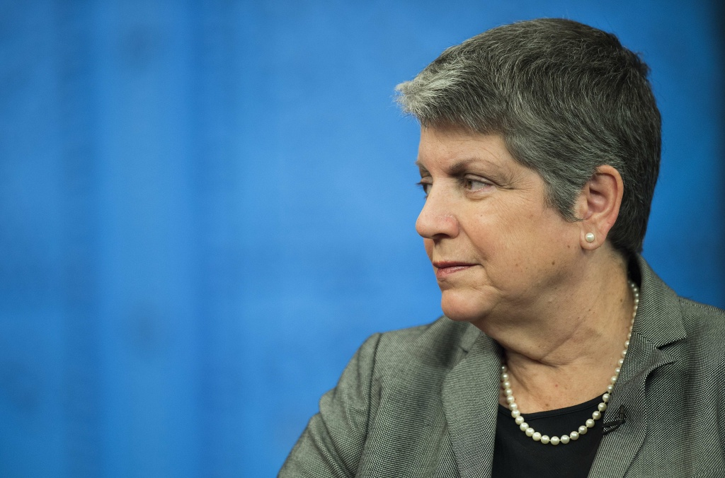 Former Homeland Security Secretary Janet Napolitano speaks during a panel discussion on advancing women in politics at the National Democratic Institute Luncheon in Washington, DC, May 19, 2014.