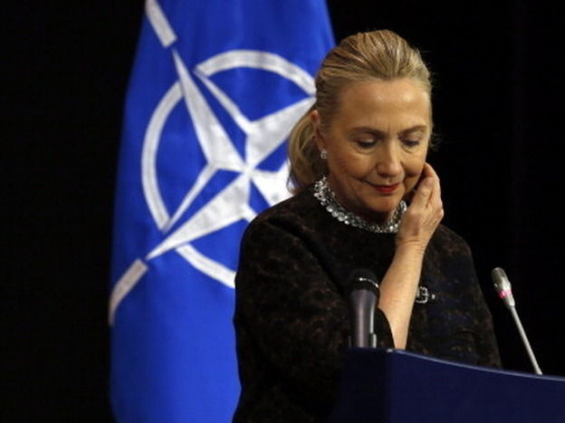 Secretary of State Hillary Rodham Clinton at a news conference Wednesday in Brussels.