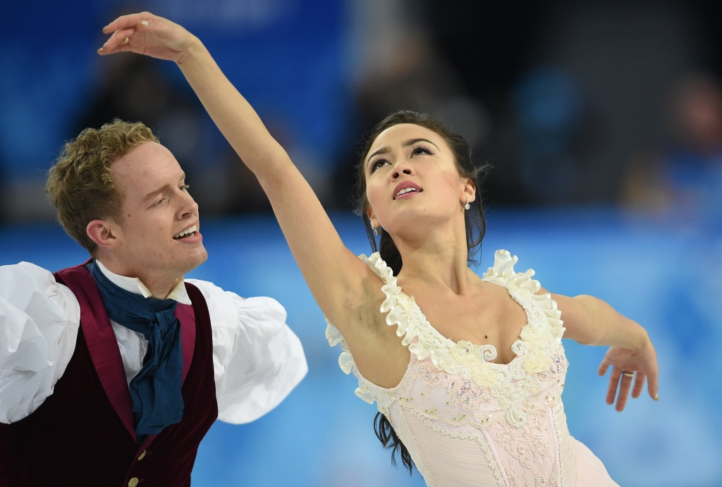 US Evan Bates and US Madison Chock perform in the Figure Skating Ice Dance Free Dance at the Iceberg Skating Palace during the Sochi Winter Olympics on February 17, 2014.