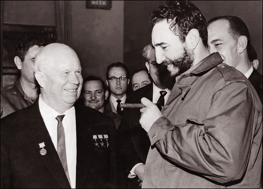 Cuban leader Fidel Castro (R) shown in file photo dated May 1963 meeting with his Soviet counterpart Nikita Khrushchev during a visit to Moscow.