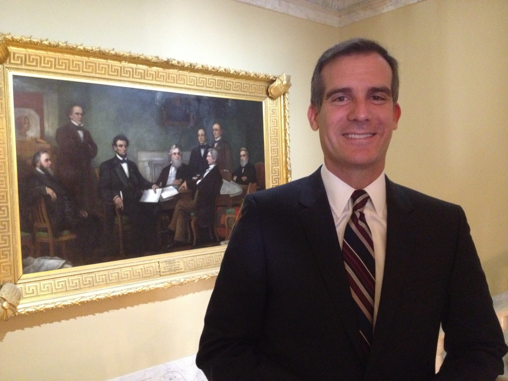 Los Angeles Mayor Eric Garcetti, outside a reception room in the U.S. Capitol where he met with U.S. Senator Barbara Boxer about the L.A. River restoration project.