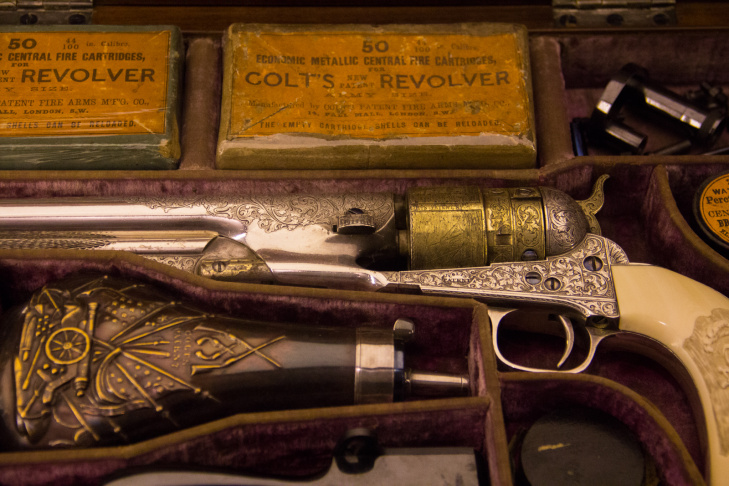 A Colt's 1860 Army revolver in its original case.