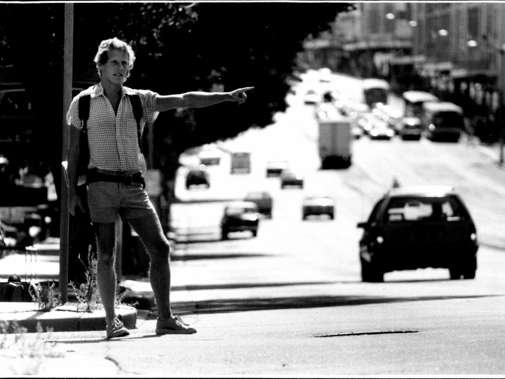 Tony Horwitz, seen hitchhiking in Australia in 1986, wrote about the experience later in his book <em>One for the Road: Hitchhiking Through the Australian Outback</em>. Horwitz, who would go on to win the <a href=