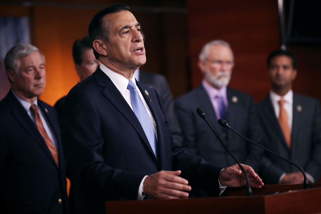Rep. Darrell Issa (R-CA) is joined by more than a dozen Republican members of Congress as he speaks during a news conference about the Deferred Action for Childhood Arrivals (DACA) program at the U.S. Capitol November 9, 2017 in Washington, DC.