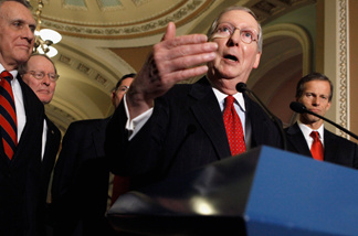 Senate Minority Leader Mitch McConnell (R-KY) (C) answers reporters' questions with (L-R) Minority Whip Jon Kyl (R-AZ), Sen. Lamar Alexander (R-TN) and Sen. John Thune (R-SD) after the weekly Senate Republican Policy Luncheon in the U.S. Capitol January 25, 2011 in Washington, DC.
