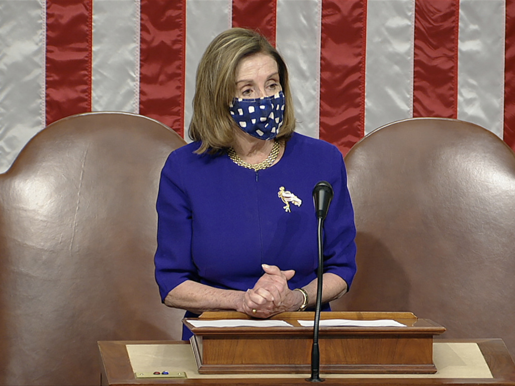 House Speaker Nancy Pelosi, D-Calif., speaks as the House reconvenes after protesters stormed into the U.S. Capitol.