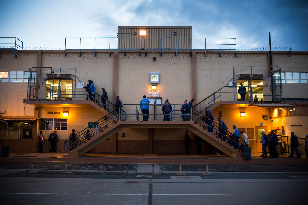 Prisoners wait in line for breakfast at California Men's Colony prison on December 19, 2013 in San Luis Obispo, California.