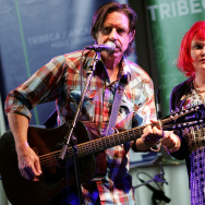 "Musicians John Doe (L) and Exene Cervenka of the band ""X"" perform onstage at the ASCAP Tribeca Music Lounge held at the Canal Room during the 2007 Tribeca Film Festival on May 2, 2007 in New York City."