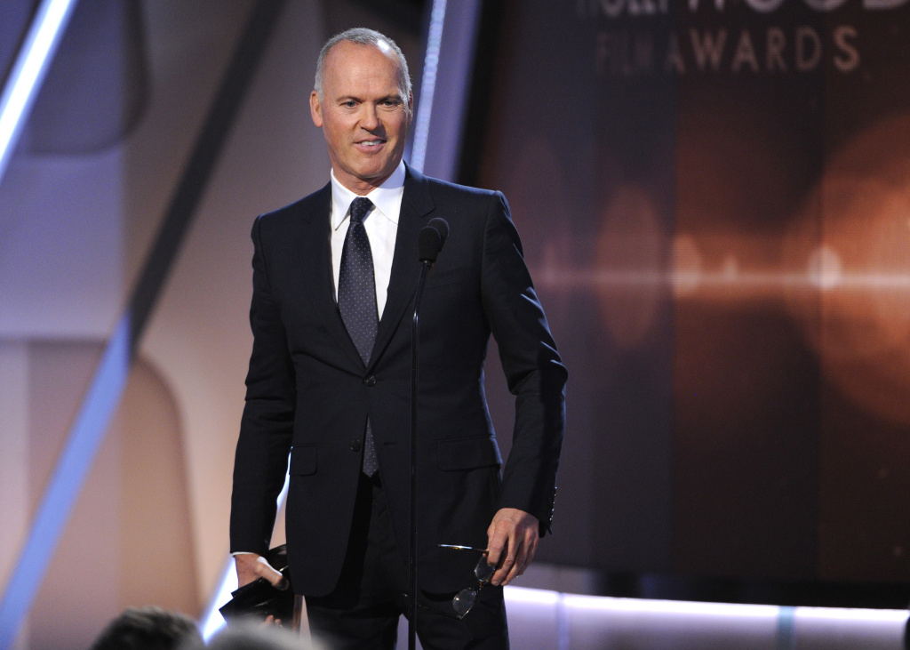 Michael Keaton accepts the Hollywood career achievement award on stage at the Hollywood Film Awards at the Palladium in this file photo taken Friday, Nov. 14, 2014, in Los Angeles. Keaton was nominated for a SAG Award for best lead actor for his performance in the show-business film
