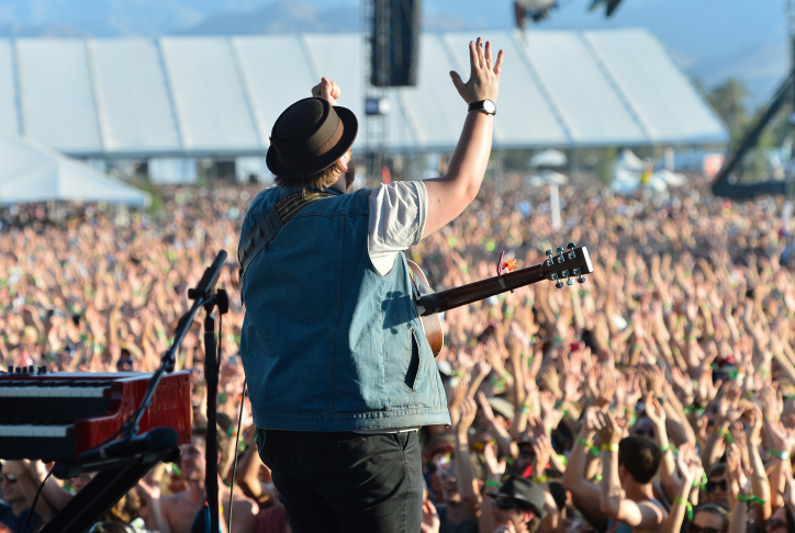 Musician Ragnar Þórhallsson of Of Monsters and Men performs onstage during day 1 of the 2013 Coachella Valley Music & Arts Festival at the Empire Polo Club on April 12, 2013 in Indio.