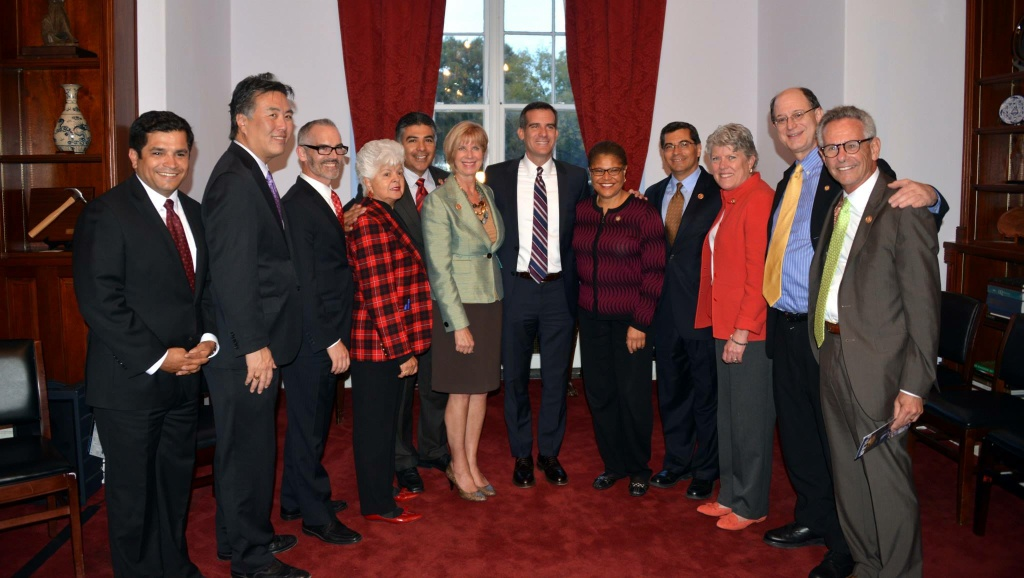 LA Mayor Eric Garcetti was the guest of honor at a reception  in DC this week attended by members of the Southern California Congressional delegation.