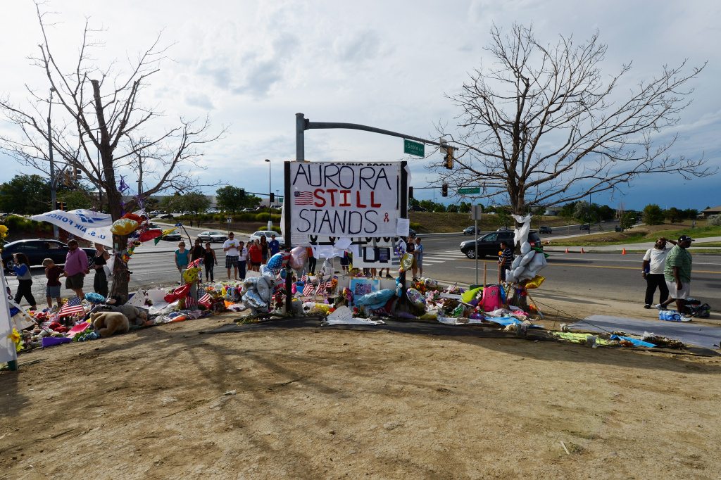 A roadside memorial set up for victims of the Colorado theater shooting massacre across the street from Century 16 movie theater July 29, 2012 in Aurora, Colorado.