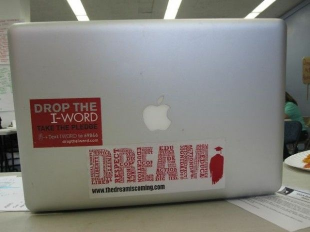 A Dream Act sticker on a college student's laptop in Los Angeles in 2010. Federal immigration enforcement agents are suing their own agency over the policy, but immigration activists vow they'll work hard to maintain it as is.