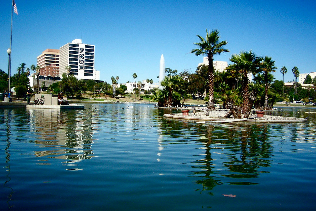 MacArthur Park Lake, where a body was found Tuesday, Dec. 11, 2012.