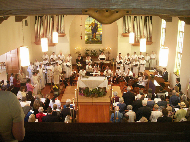 An Easter Sunday service at the First Evangelical Lutheran Church in Palo Alto, California.